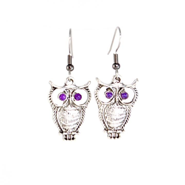 Purple Eyed Owl Earrings